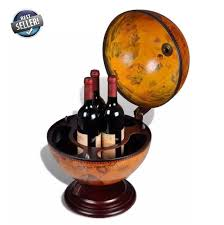 <b>Tabletop Globe Bar</b> Wine Rack Holder Stand Wood Drink Cabinet ...
