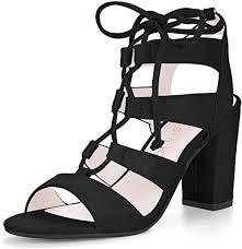 Allegra K Women's Tie Up Strappy Gladiator Black ... - Amazon.com