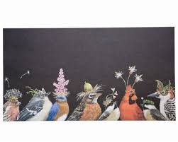 beautiful paper placemats serving papers  sheets of whimsical songbirds enjoying some festivities  x  shorter t