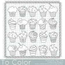 Small Picture Cupcake Coloring Page for Grown Ups Instant Download Coloring