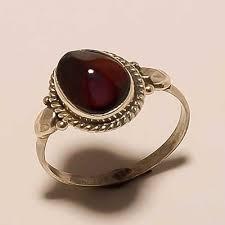 Red <b>Sterling</b> Silver Designed <b>Fashionable</b> Garnet Ring, Shape: <b>Oval</b> ...