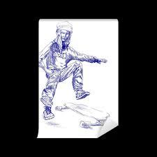Young <b>beautiful</b> and tough girl jumps on her <b>skateboard</b>. <b>Wall Mural</b> ...