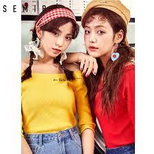 SEMIR Summer <b>short sleeve</b> T shirt female <b>2019 new</b> half sleeve ...