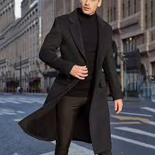 Rainny <b>Men's British</b> Style <b>Solid Color</b> Long Coat for <b>men</b> ...