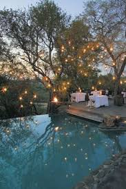a beautiful evening landscape beautiful lighting pool