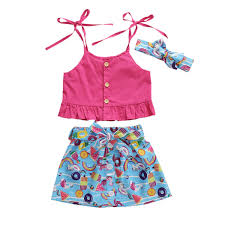<b>1 6Y Summer Toddler</b> Baby Girls Clothes Sets Rose Red Solid Vest ...