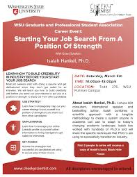 graduate and professional student career workshop wsu join the graduate and professional student association for our career event starting your job search from a position of strength workshop guest