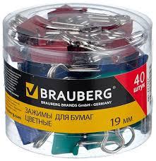 <b>BRAUBERG Зажимы для бумаг</b> цветные 221127 19 мм (40 шт ...