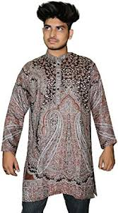 Indian <b>Men's</b> Kurta Shirt <b>Loose Fit</b> Pashmina Silk Hand Loom ...