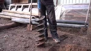 Бензобур ADA Ground Drill-7 в работе - YouTube