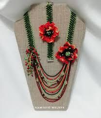 Ukrainian Red poppy jewelry. America floral <b>seed bead necklace</b> ...
