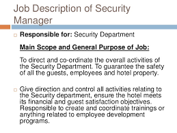 hotel security   job description of security