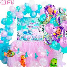 QIFU <b>Little Mermaid Balloon Party</b> Baloons Birthday Party Decor Kid ...
