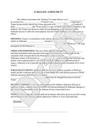 Sublease Agreement Form - Sublet Contract Template (with Sample)