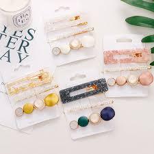 <b>3Pcs</b>/<b>Set</b> Korean Fashion Gold Pink Acrylic Hollow Rectangle Pearl ...