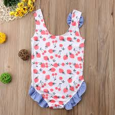 Infant Toddler Baby Girls Sleeveless <b>Strawberry</b> Cherry <b>One Piece</b> ...