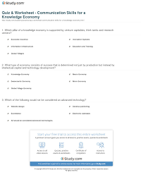 quiz worksheet communication skills for a knowledge economy print communication skills needed in a knowledge economy worksheet
