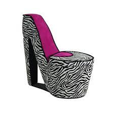 ORE International Pink Zebra Storage Slipper <b>Chair</b>-HB4258R - The ...
