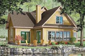 House plan W detail from DrummondHousePlans comRear view   BASE MODEL Panoramic view cottage   car garage  to