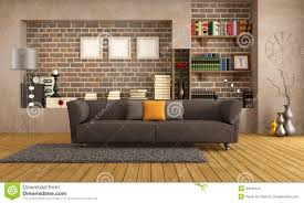 Living Room Brown Sofa Modern Couch In A Vintage Living Room Royalty Free Stock