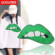 2019 <b>GUGUTREE Embroidery Sequins Big</b> Lip Patches Lipstick ...