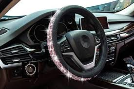 <b>Crystal</b> Steering Wheel Cover, Leather Surface <b>Bling Bling</b>