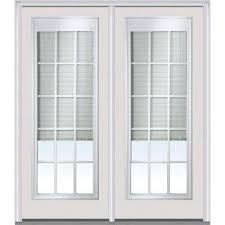 patio doors with blinds between the glass: classic clear low e glass  lite fiberglass smooth prehung left hand inswing rlb