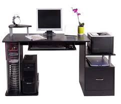 cheap black computer desk with a large draw side shelving sliding keyboard shelf plus cd rack on the left side and large printer stand constructed from black computer desks
