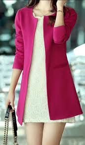 <b>Fashionable Scoop Neck Solid</b> Color Pocket Long Sleeve Coat For ...
