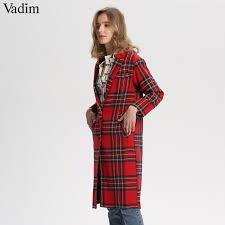 Vadim <b>women</b> red <b>plaid long</b> woolen <b>coat</b> thick warm winter ...