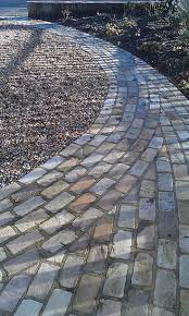 cobble resin patio front garden path bordering gravel drive paths gardens http www