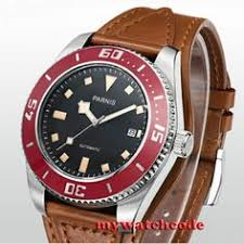 Details about <b>43mm Parnis black dial</b> red bezel date miyota ...