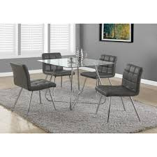 metal dining room chairs chrome: display gallery item  chrome metal mm tempered glass quotdia dining table by monarch specialties display gallery item