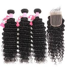 100% Virgin Remy <b>Brazilian Deep Wave Hair</b> With 3 Bundles 4*4 ...