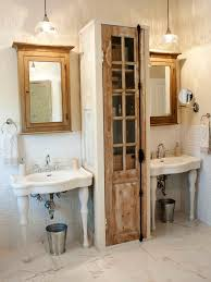 country themed reclaimed wood bathroom storage: tags original katie gagnon bathroom storage between pedestal sinksjpgrendhgtvcom