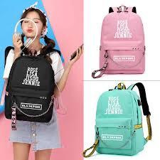 BLACKPINK JISOO Rose Lisa Travel <b>Backpack USB</b> Charging ...