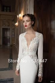 2014 Long Sleeves Mermaid Wedding Dresses Plunging Neckline ...