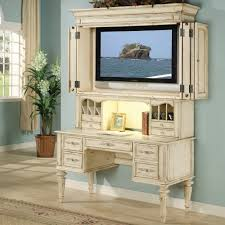 shabby chic computer desk with optional tv hutch at hayneedle chic office desk hutch