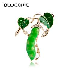 <b>Blucome Enamel Green</b> Pea Brooches For Women Gold color ...