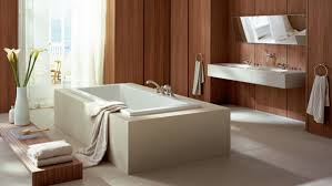 harmonious white and brown wooden nuance of bathroom with white square bathtub and white sink table bathroom incredible white bathroom interior nuance