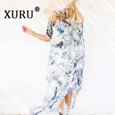 2018 <b>XURU Summer New</b> Chiffon Dress Print Tube Top Loose ...