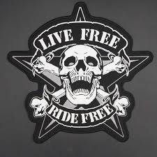 Large Skull <b>LIVE FREE RIDE FREE</b> Embroidery Patches for Jacket ...