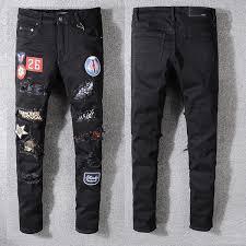 <b>2019 Fashion Men'S Letter</b> Fun Badge Hole Patch Jeans Designer ...