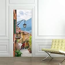 3D Door Wallpaper Murals Wall Stickers-Old Town for ... - Amazon.com