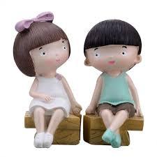 Creative <b>Boy Girl</b> Couple Resin Crafts Decor Ornaments Doll <b>Cute</b> ...