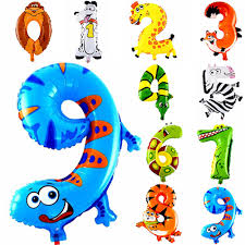 <b>1PCS 16inch Animal Number</b> Foil Balloons Kids Party Decoration ...