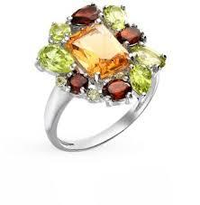 Серебряное <b>кольцо</b> с <b>хризолитом</b>, гранатом и цитринами ...
