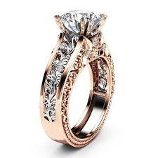 <b>CUTEECO</b> Cz Stone Ring <b>Rose</b> Gold Leaf Crystal Wedding Ring ...