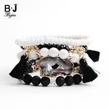 <b>Bojiu</b> Natural Druzy <b>Bracelet</b> For Women Fashion Black <b>White</b> ...