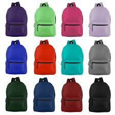 """<b>Wholesale</b> 19"""" Basic Backpacks <b>in 12 Assorted Colors</b> - Case of 24 ..."""